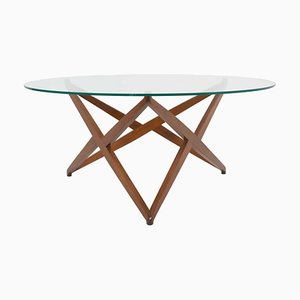 Italian Modern Round Coffee Table with Star-Shaped Base by Angelo Ostuni, Italy, 1960s