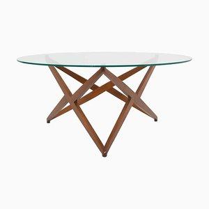 Tavolino da caffè rotondo moderno con base a forma di stella di Angelo Ostuni, Italia, anni '60