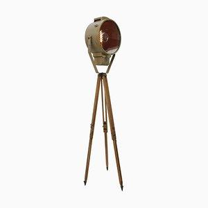 Vintage Industrial Tripod Brown Metal and Wood Spotlight Floor Lamp