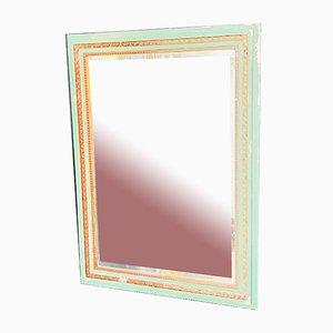 Französischer Klassischer Quadratischer Spiegel in Grün & Gold