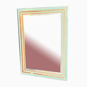 French Classical Square Green & Gold Mirror