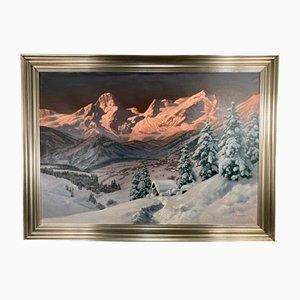 Alois Arnegger, Paysage d'Hiver dans les Montagnes, 20ème Siècle, Peinture à l'Huile, Encadré