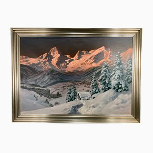 Alois Arnegger, Winter Landscape in the Mountains, 20th Century, Oil Painting, Framed