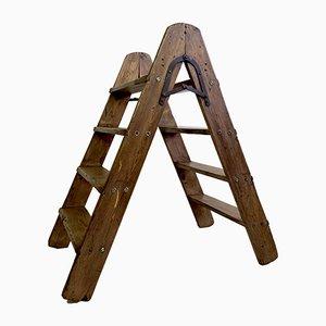 Antique Pine-Wood Folding Steps