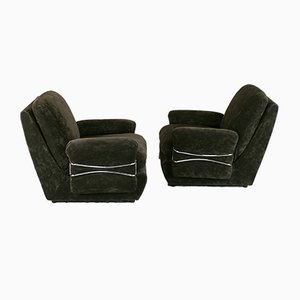 Space Age Armchairs in Brown Velvet and Steel, France, 1970s, Set of 2