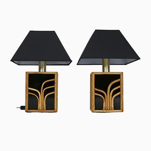 Black Glass and Rattan Lamps, France, 1970s, Set of 2