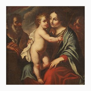 Heilige Familie, 17. Jahrhundert, antike Gemälde, gerahmt
