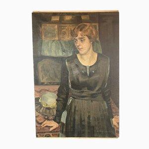 Wilhelm Brandenberg (1889-1975), Ritratto di moglie, Pittura ad olio della scuola di Düsseldorf