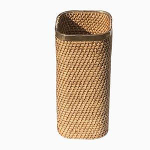 Mid-Century Rattan, Wicker and Brass Umbrella Holder or Basket