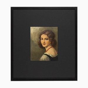 Portrait de Femme, 1920s, Huile sur Plaque, Encadrée
