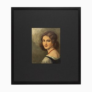 Portrait einer Frau, 1920er, Öl auf Teller, gerahmt