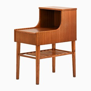 Scandinavian Bedside Table with Drawer and Magazine Rack, 1950s