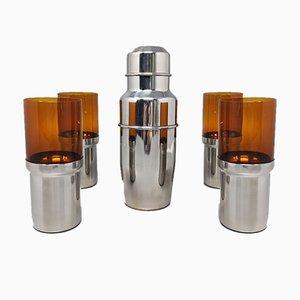 Cocktailshaker mit 4 Gläsern von Pran, Italien, 1970er, 5er Set