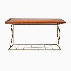 Teak Suspended Bedside Table with Golden Metal