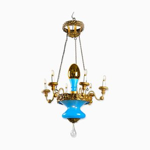 Turquoise and Golden Chandelier from Lucca, 19th Century