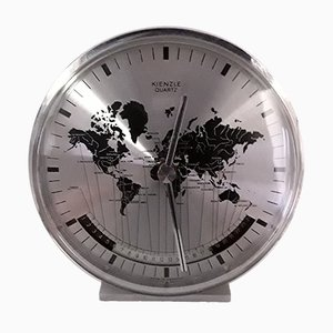 Vintage World Time Table Clock in Stainless Steel from Kienzle, 1980s