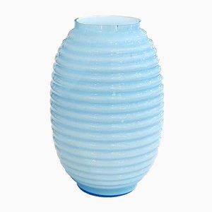 Lantern Vase aus Himmelblauem Opalglas