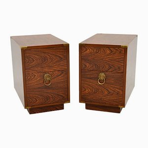Antique Military Campaign Style Side Chests, Set of 2