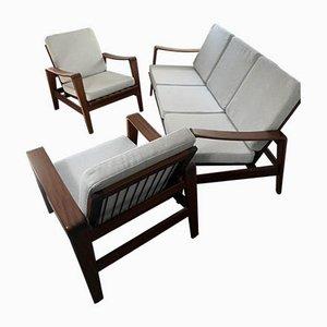Sofá modelo 35 y dos butacas de Arne Wahl Iversen para Komfort, años 60. Juego de 3
