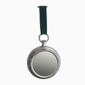 Mid-Century Portuguese Silver and Green Brass Wall Hanging Mirror, 1950s