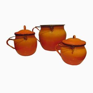 Art Deco Enameled Pots, Set of 3