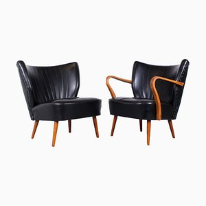 Black Cocktail Club Chairs in the Style of Artifort, 1950s, Set of 2
