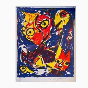 Carl-Henning Pedersen, Litografia Cobra colorata, con cornice