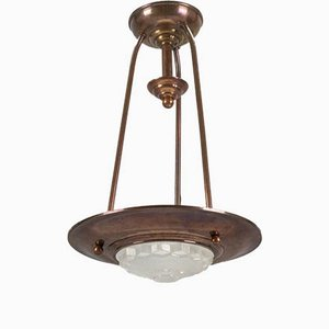 Art Deco Copper and Frosted Glass Pendant Chandelier