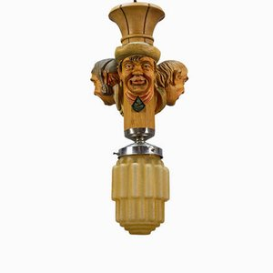 Art Deco Style Hand-Carved Wooden and Glass Pendant Light