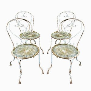 French Iron Garden Chairs, 1950s, Set of 4