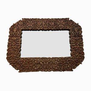 Großer Spiegel im Kolonialstil aus geschnitztem Holz, 20. Jh