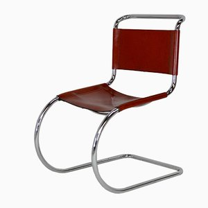 Silla MR10 de cuero coñac de Mies Van Der Rohe, años 60