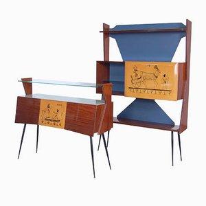 Mobiletti ad angolo vintage in stile Gio Ponti, anni '50, set di 2