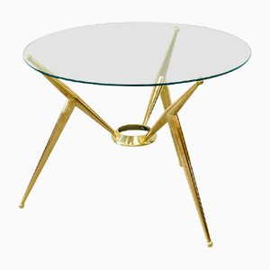 Mid-Century Auxiliary Table in Brass and Glass