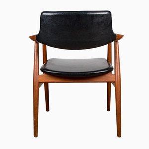 Model 43 Danish Chair in Teak and Skai by Erik Kirkegaard for Hong Stolefabrik, 1960s
