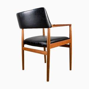 Model 43 Danish Office Chair in Teak and Skai Black by Erik Worts for Soro Stolefabrik, 1960s