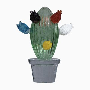 Grüne Kunstglas Kaktuspflanze von Marta Marzotto, 1990er
