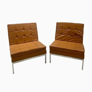 Camel Leather Armchairs by Florence Knoll, Set of 2