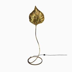 Italian Brass Leaf-Shaped Foglia Floor Lamp by Tommaso Barbi, 1970s