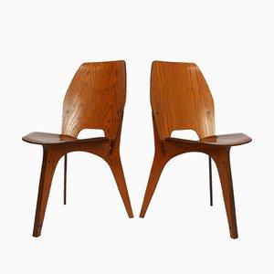 Dreibeiniger Stuhl aus Schichtholz von Eugenio Gerli für Tecno, 1958, Italien