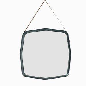 Italienischer Sechseckiger Spiegel mit Holzrahmen, 1960er