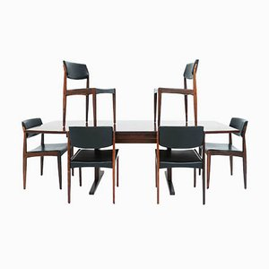 Danish Rosewood Extending Table with Eco-Leather Chairs by H. W. Klein for Bramin, Set of 7