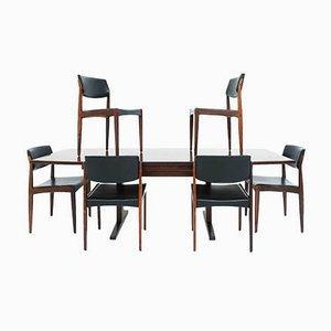 Table Extensible en Palissandre avec Chaises en Cuir Écologique par HW Klein pour Bramin, Danemark, Set de 7