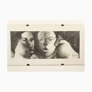 Maurice Musin, Three Faces, Charcoal on Paper, 1964