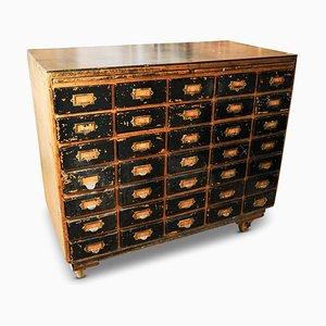 Cassettiera industriale con 35 cassetti, anni '50