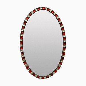 Specchio vintage in cristallo di rocca e vetro color rubino
