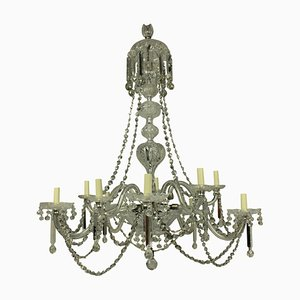 Lámpara de araña inglesa antigua grande de vidrio tallado