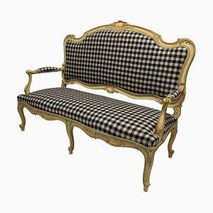 Lackiertes Louis XV Sofa aus Gingham Leinen