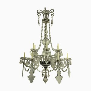 Large Antique French Cut Glass Chandelier