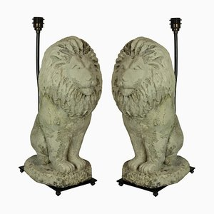 Lampes de Bureau Lion Vintage en Pierre, Set de 2